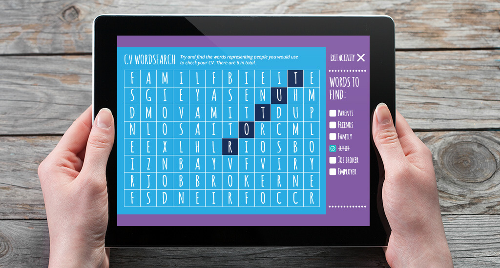 Tablet device with wordsearch elearning activity displayed on it